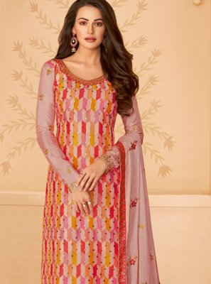 Tussar Silk Designer Salwar Suit in Multi Colour