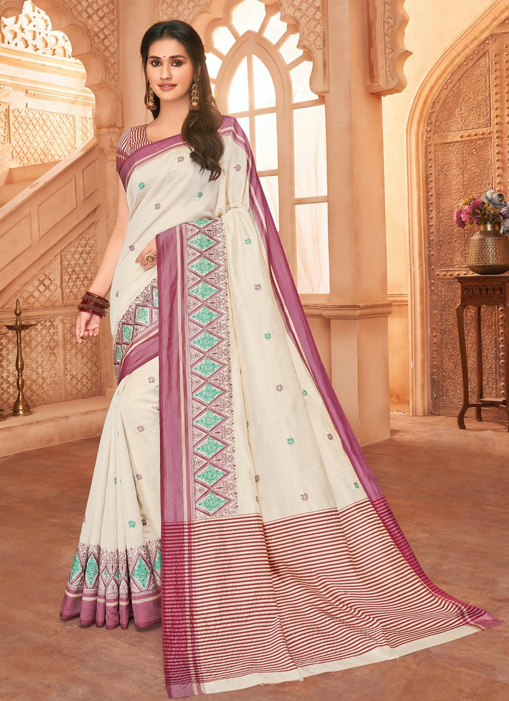 Tussar Silk Embroidered Bollywood Saree in Off White