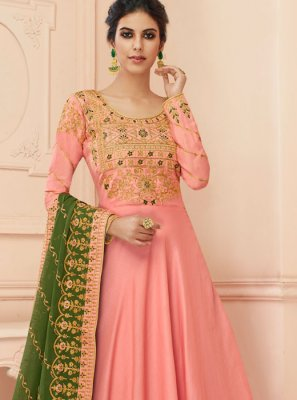 Tussar Silk Embroidered Pink Floor Length Anarkali Suit