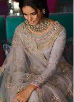 Tussar Silk Embroidered Salwar Kameez in Grey