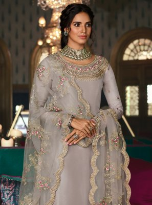 Tussar Silk Embroidered Salwar Kameez in Grey