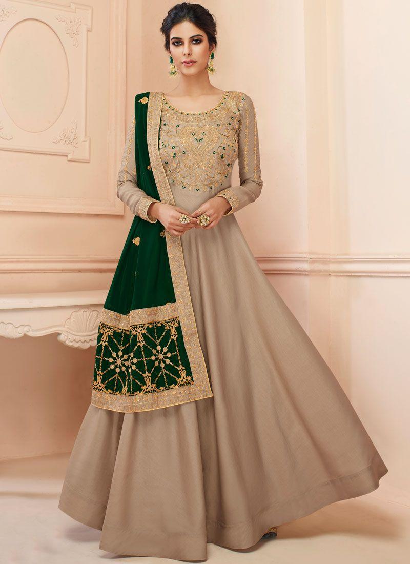Tussar Silk Floor Length Anarkali Suit