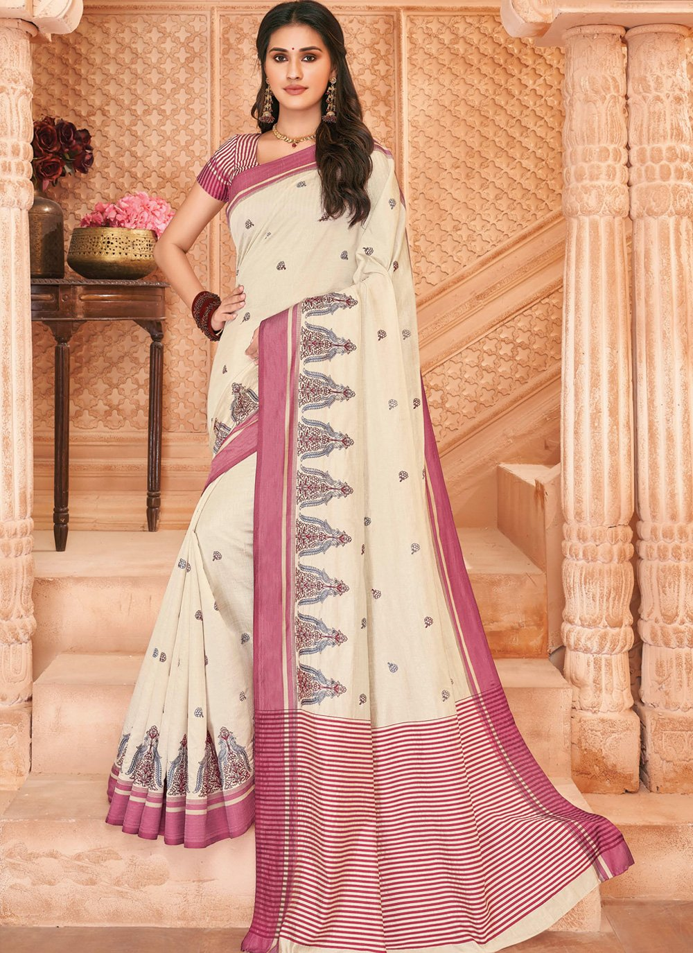 Tussar Silk Off White Embroidered Contemporary Saree