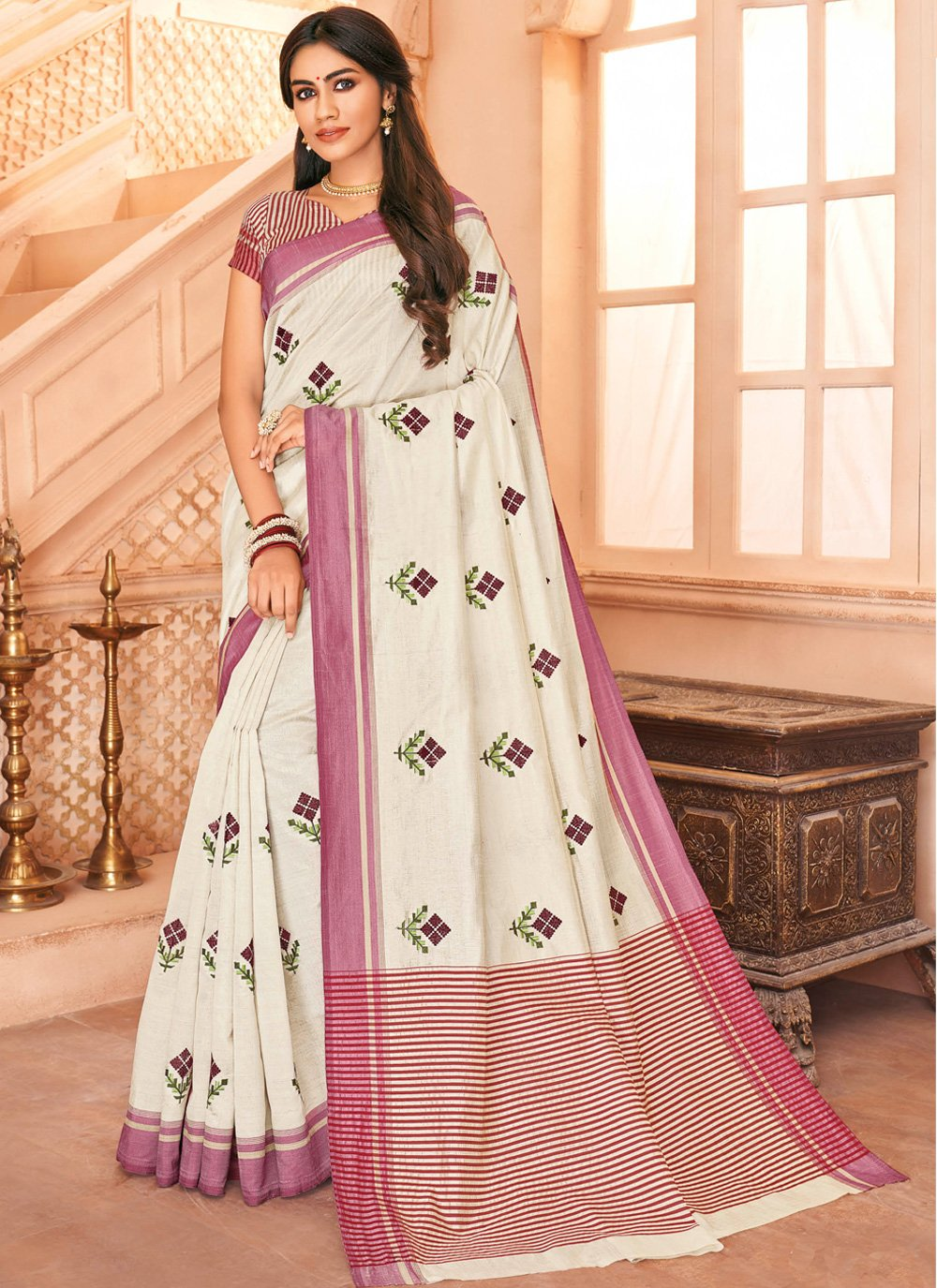 Tussar Silk Off White Embroidered Designer Saree