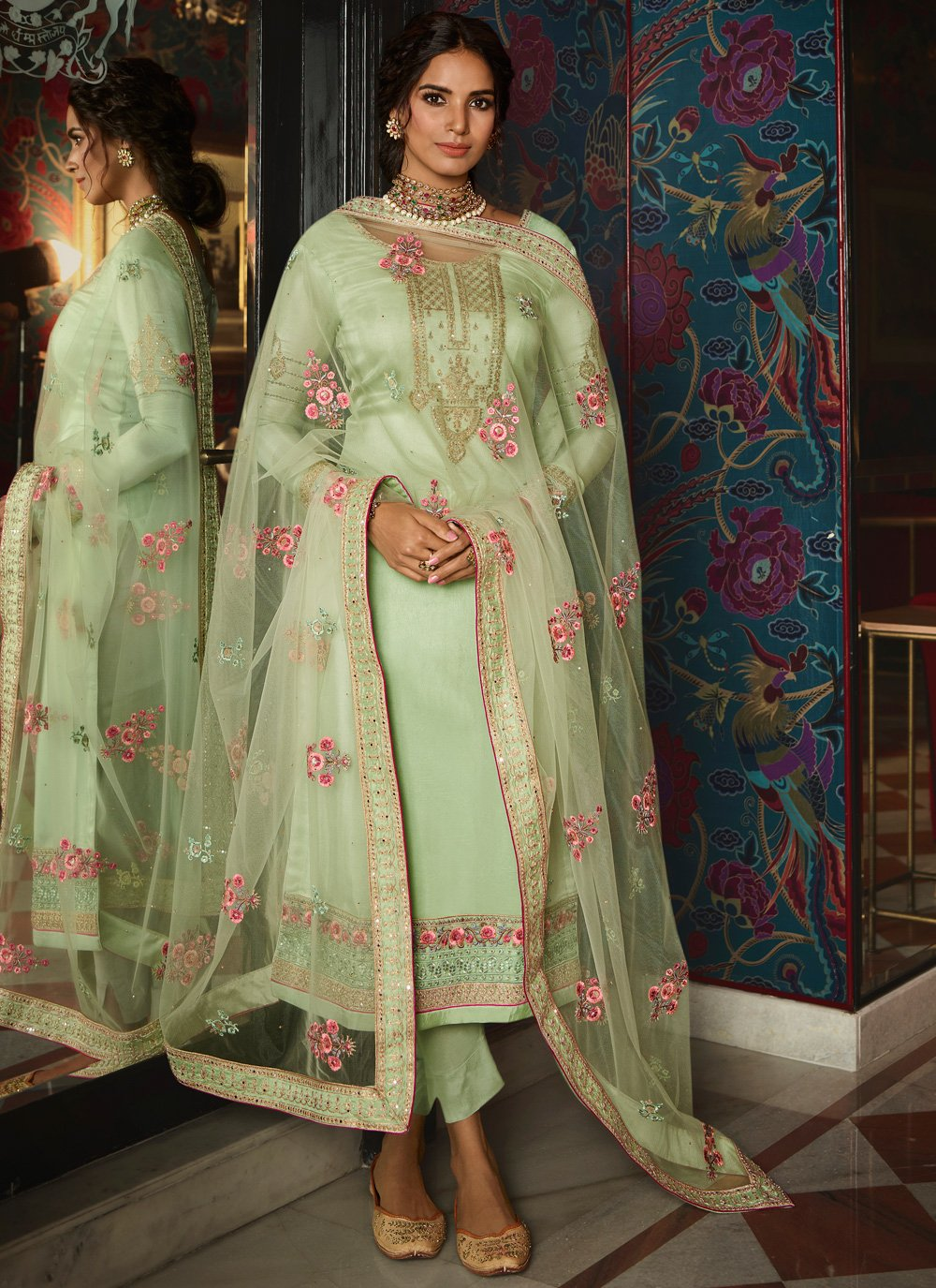 Tussar Silk Sea Green Embroidered Designer Pakistani Suit