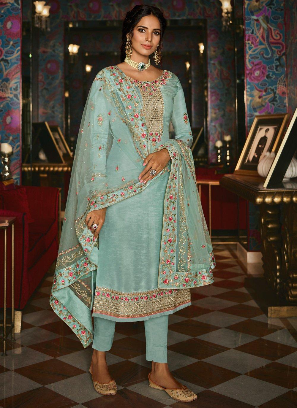 Tussar Silk Turquoise Zari Designer Pakistani Suit