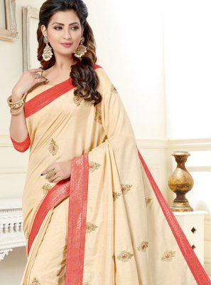 Uppada Silk Beige Embroidered Classic Saree