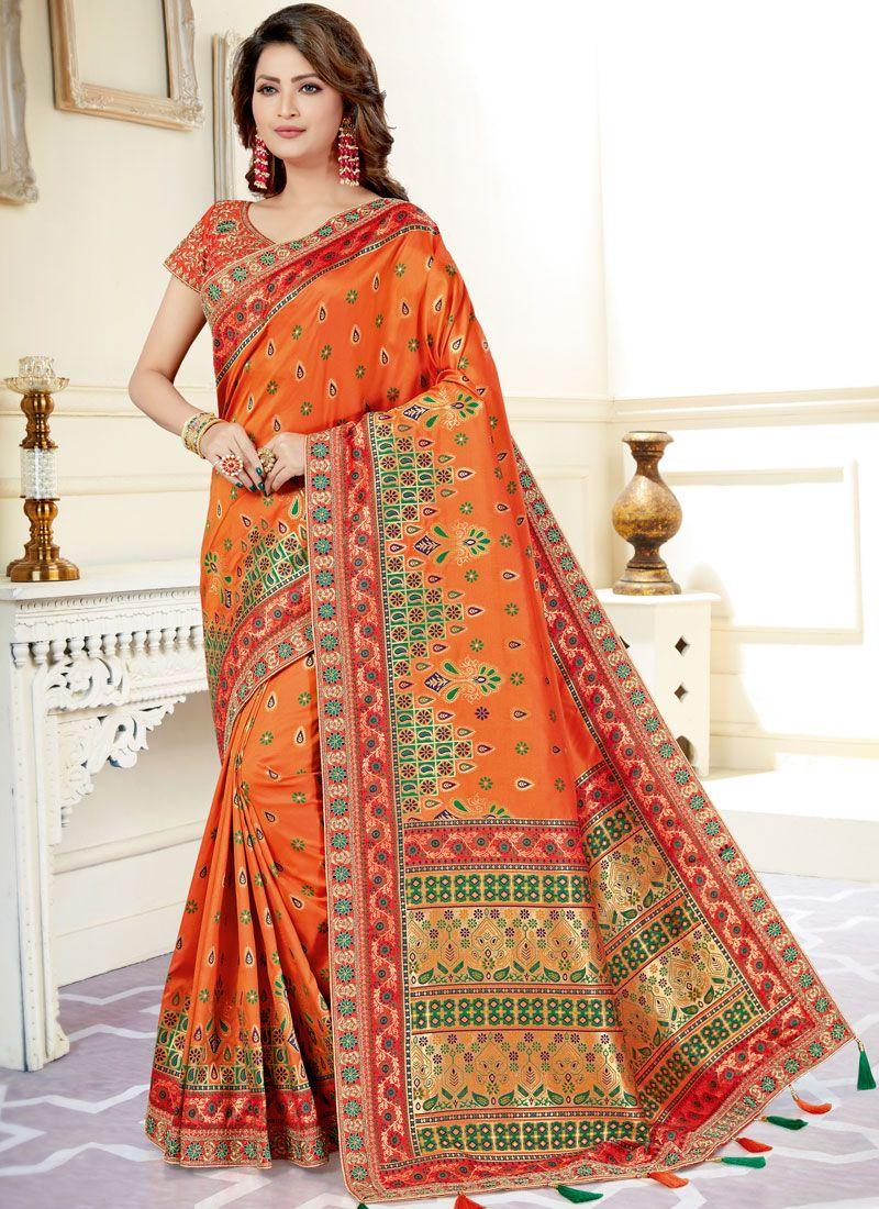 Uppada Silk Classic Designer Saree in Orange