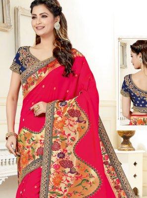 Uppada Silk Hot Pink Resham Classic Designer Saree