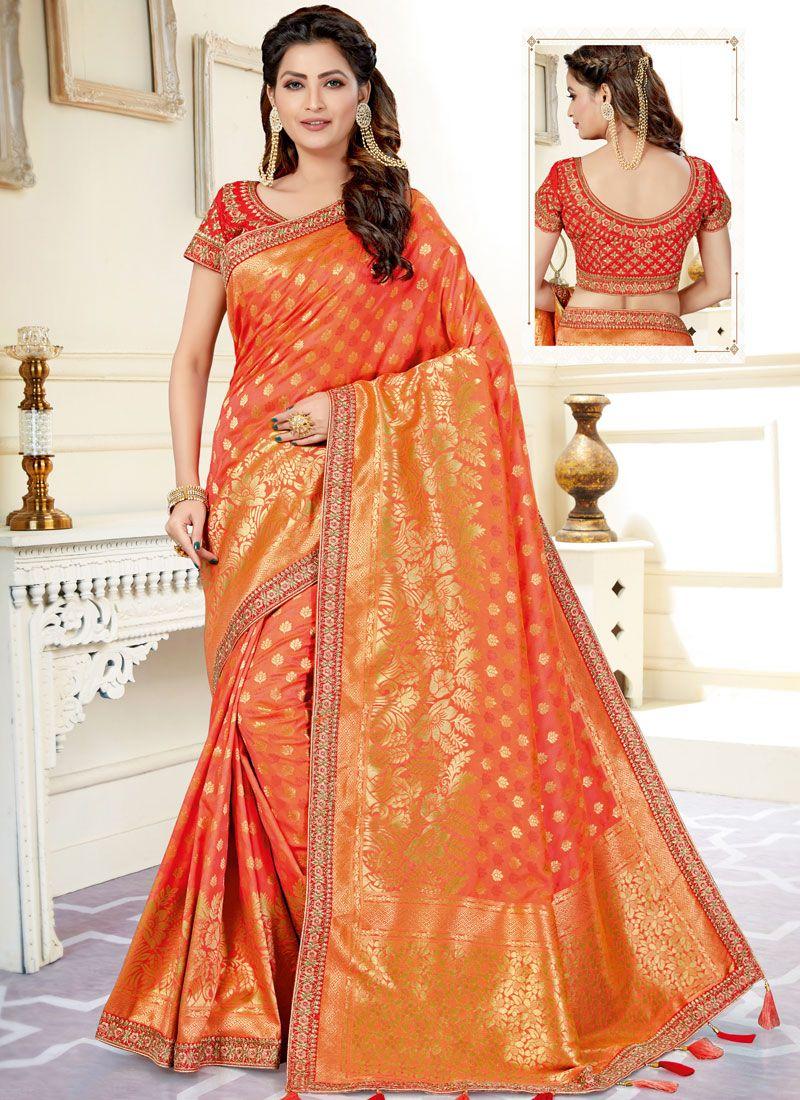 Uppada Silk Resham Peach Classic Saree