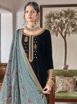 Velvet Blue Embroidered Designer Palazzo Suit
