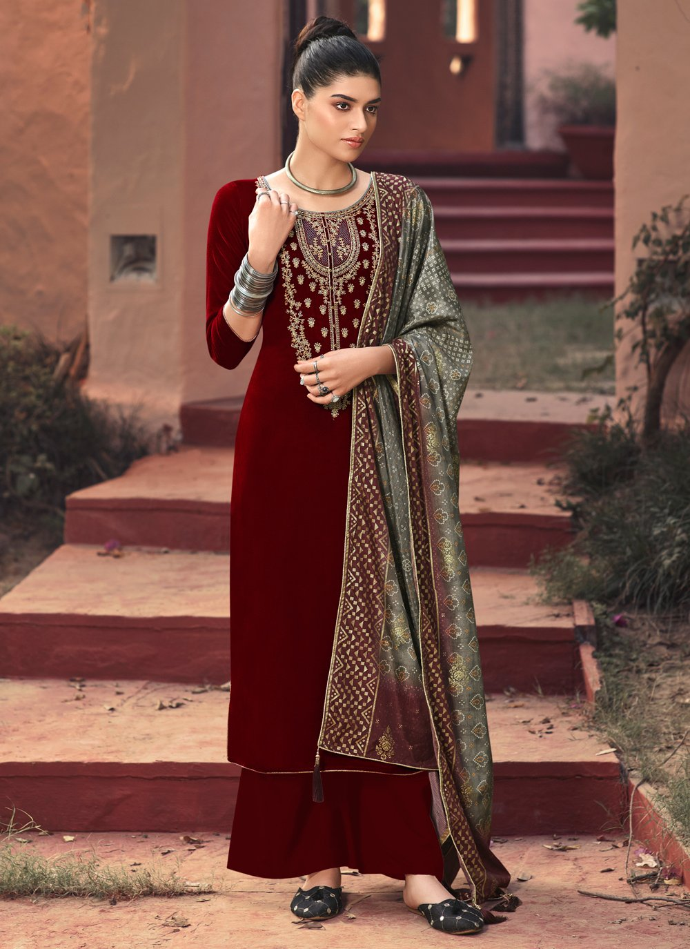 Velvet Brown Embroidered Palazzo Salwar Suit