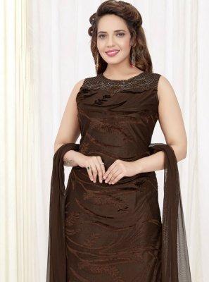 Velvet Brown Stone Churidar Salwar Suit