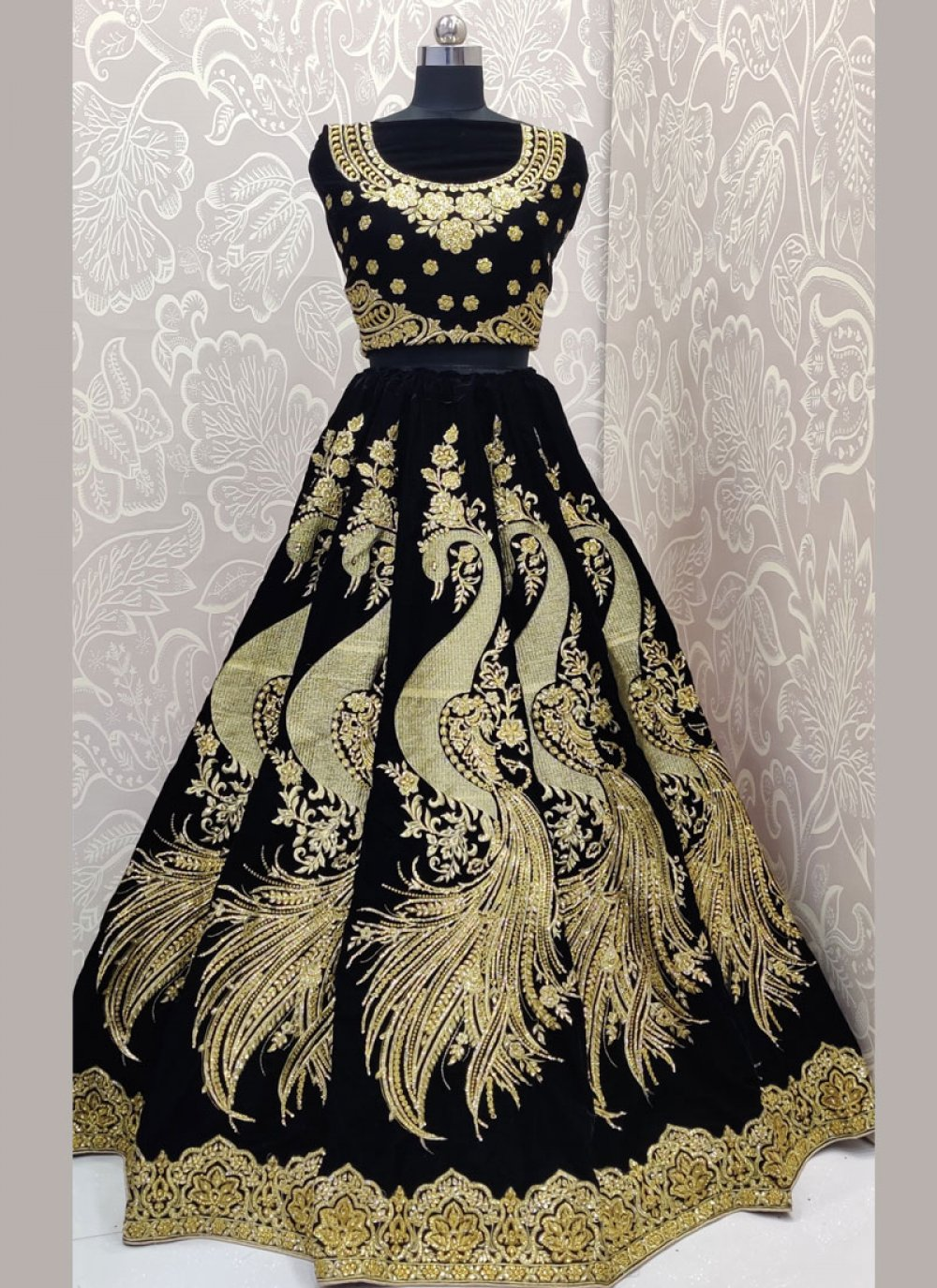 Velvet Diamond Designer Lehenga Choli in Black