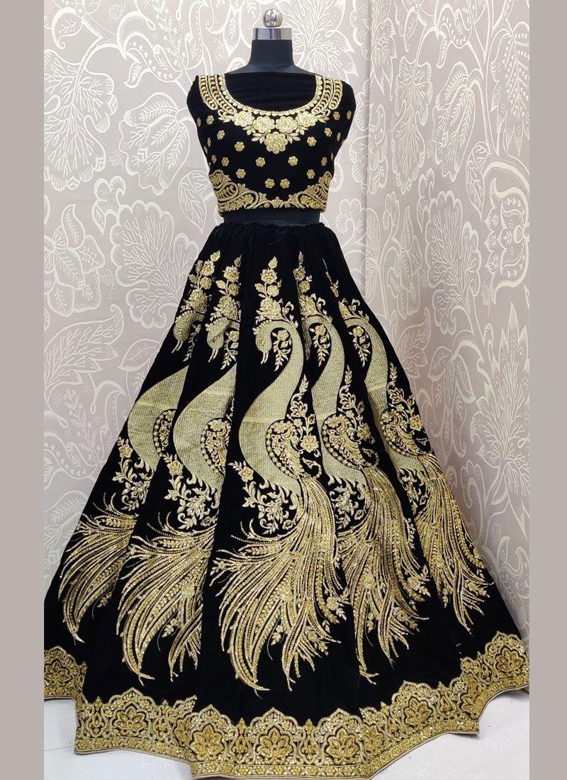 Velvet Diamond Designer Lehenga Choli in Black