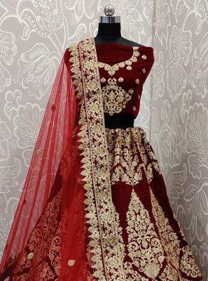 Velvet Embroidered A Line Lehenga Choli in Maroon