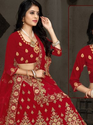 Velvet Embroidered A Line Lehenga Choli in Maroon