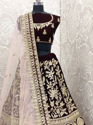 Velvet Embroidered Designer Lehenga Choli