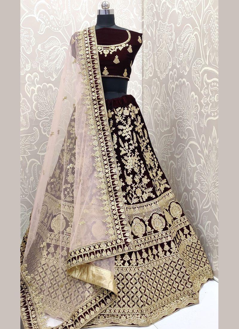 Velvet Embroidered Designer Lehenga Choli