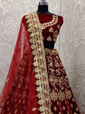 Velvet Embroidered Lehenga Choli