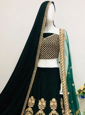 Velvet Embroidered Lehenga Choli in Green