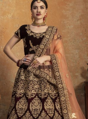 Velvet Embroidered Lehenga Choli in Maroon