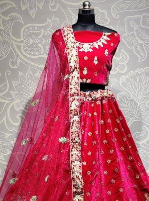 Velvet Embroidered Lehenga Choli in Pink