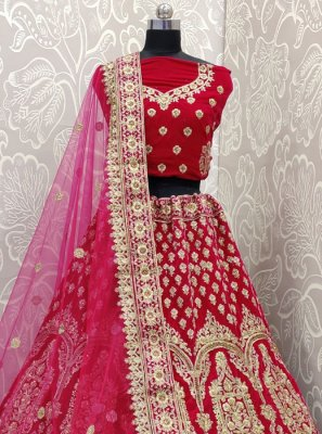 Velvet Embroidered Pink Designer Lehenga Choli