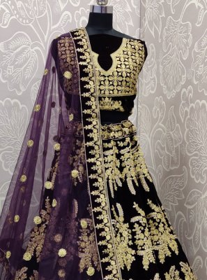 Velvet Embroidered Purple Designer Lehenga Choli