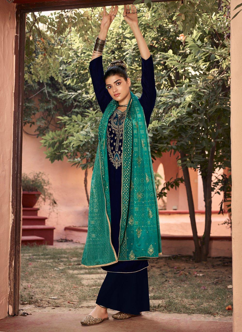 Velvet Embroidered Teal Salwar Suit