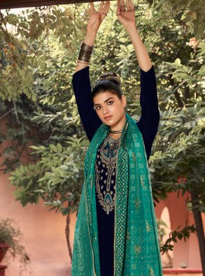Velvet Embroidered Teal Salwar Suit