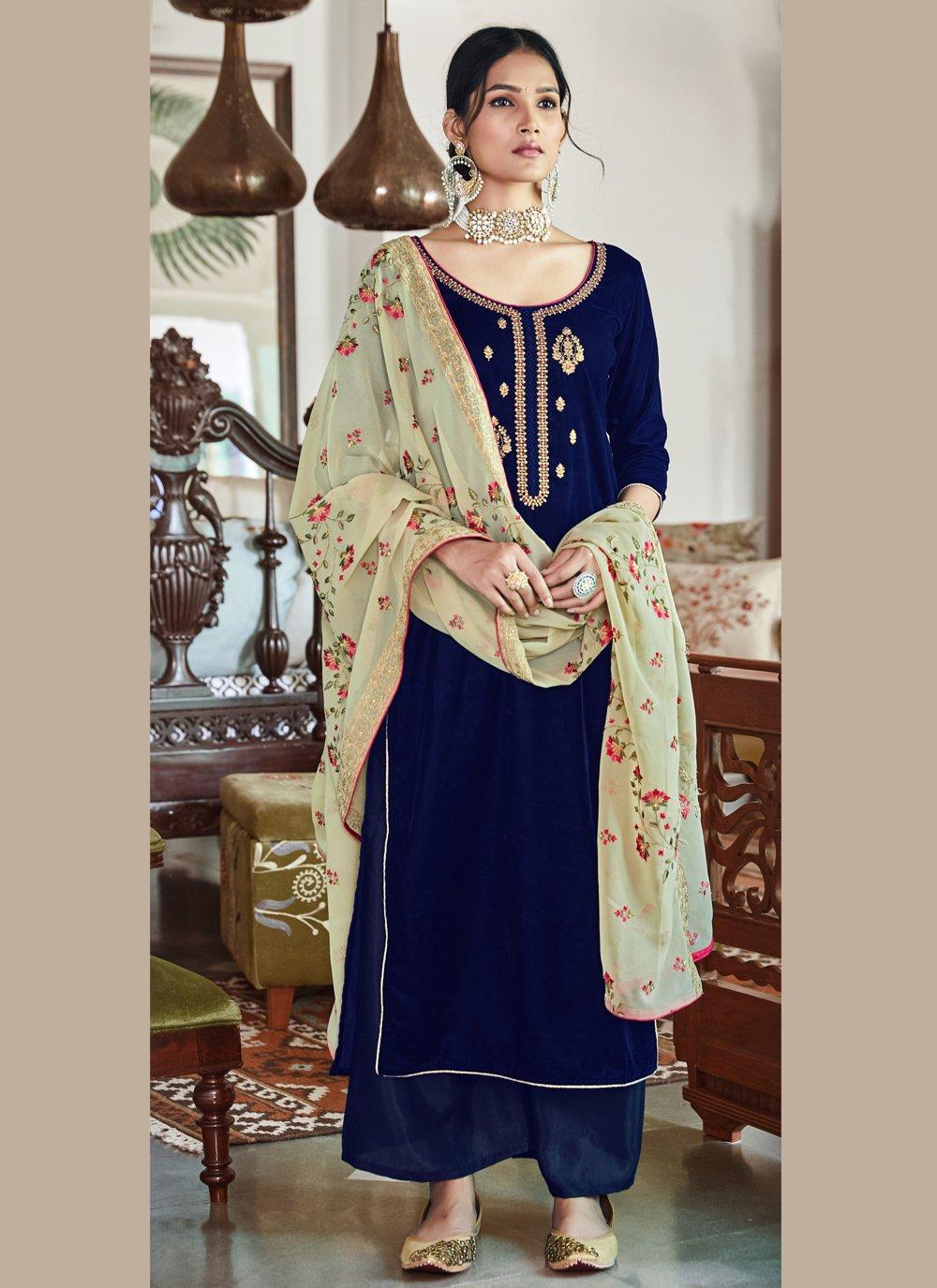 Velvet Embroidered Trendy Salwar Kameez