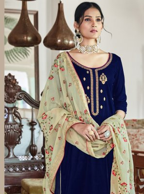 Velvet Embroidered Trendy Salwar Kameez