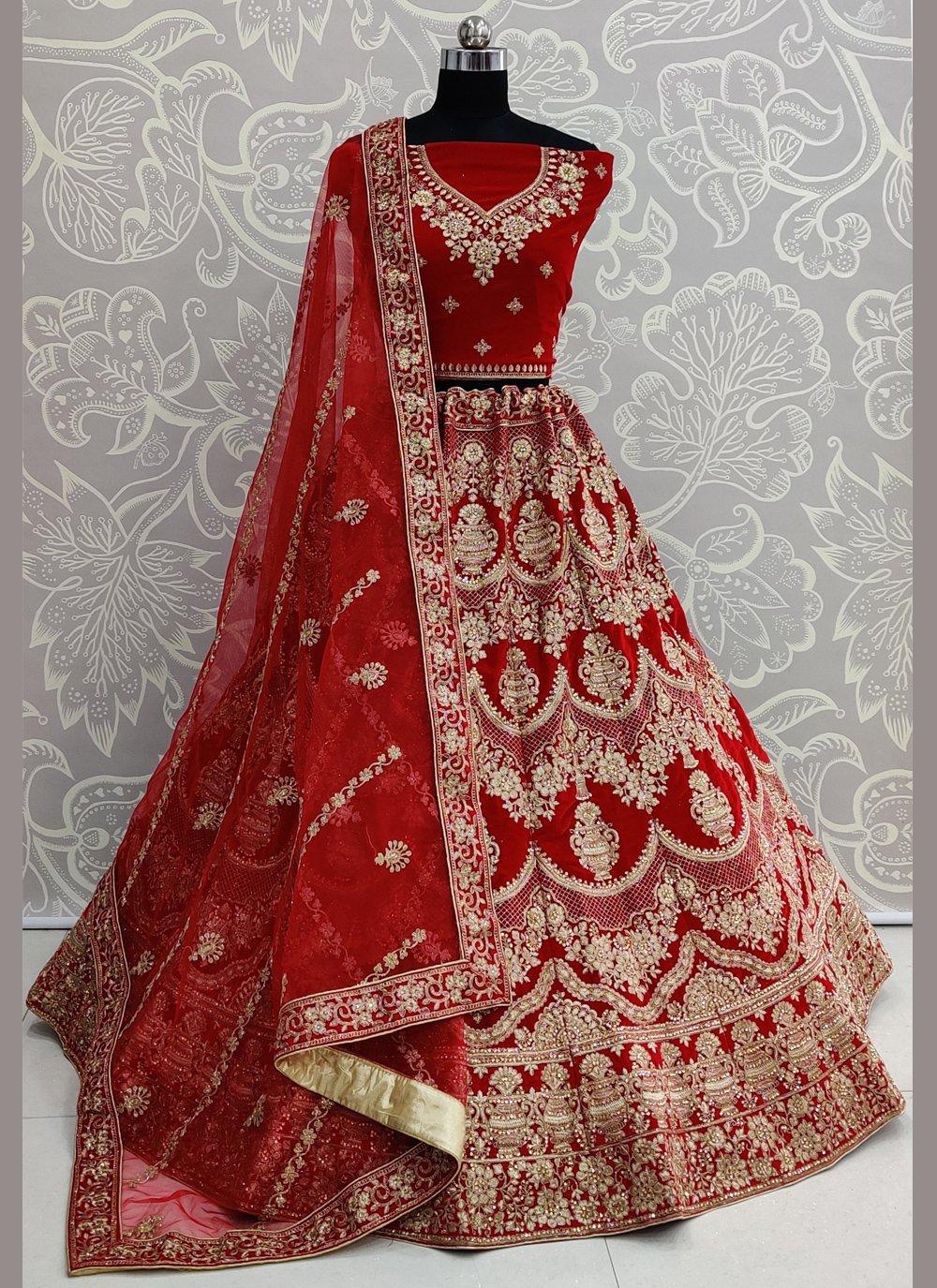 Velvet Lehenga Choli in Red