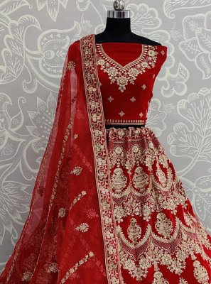 Velvet Lehenga Choli in Red