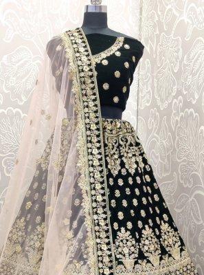 Velvet Navy Blue Embroidered Designer Lehenga Choli