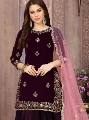 Velvet Patiala Salwar Suit in Wine