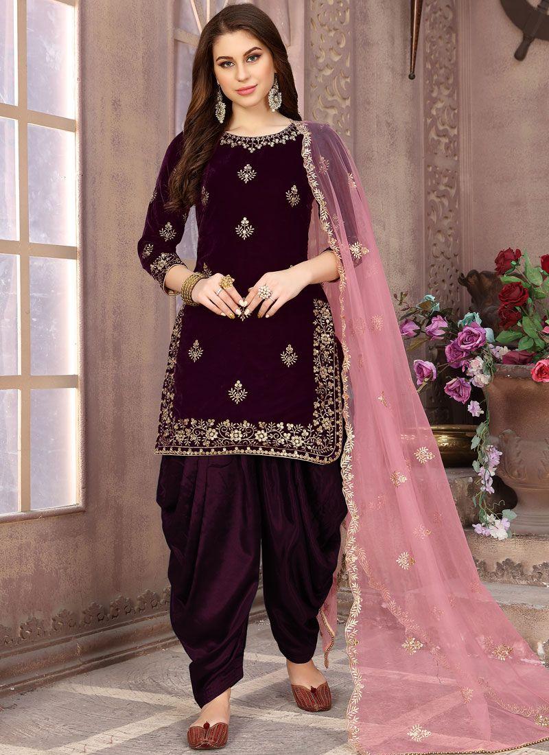 Velvet Patiala Salwar Suit in Wine