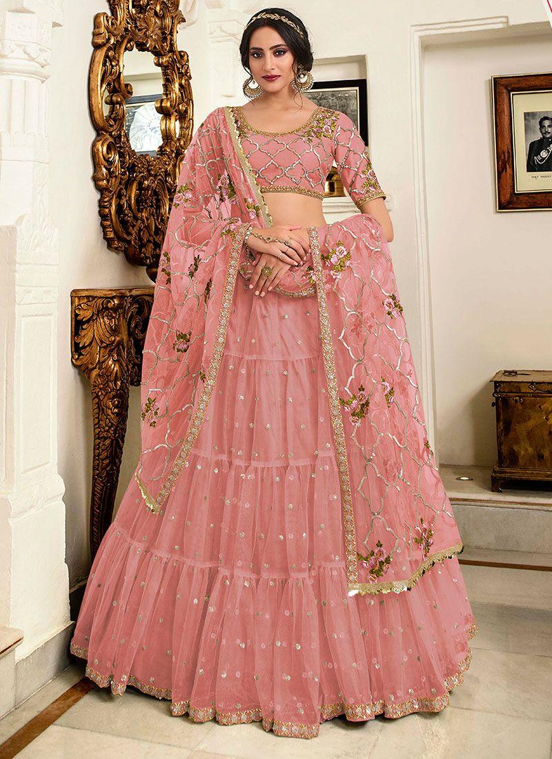 Velvet Pink Lehenga Choli