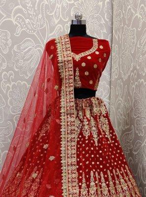 Velvet Red Dori Work Designer A Line Lehenga Choli