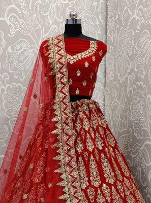 Velvet Red Embroidered A Line Lehenga Choli