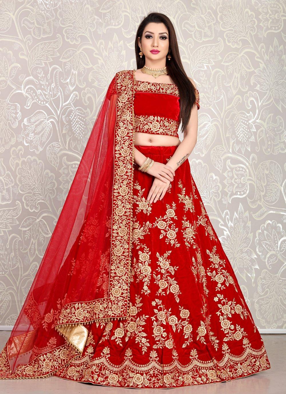Velvet Red Embroidered Bollywood Lehenga Choli