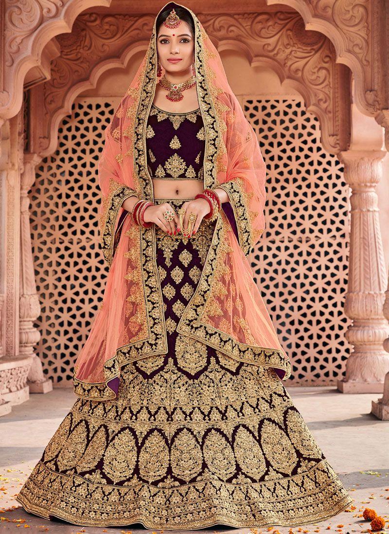 Velvet Resham Designer Lehenga Choli