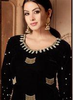 Velvet Resham Designer Salwar Suit in Black