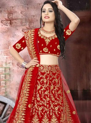 Velvet Resham Lehenga Choli in Red