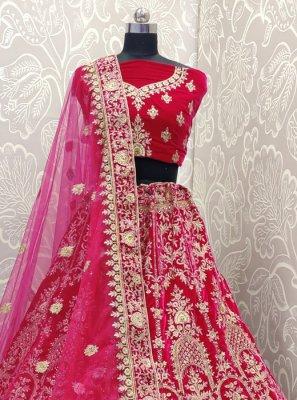 Velvet Resham Pink Designer Lehenga Choli