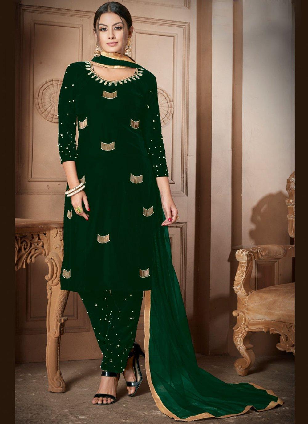 Velvet Salwar Kameez in Green