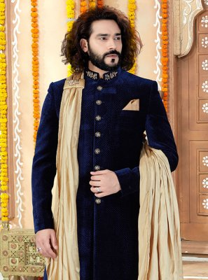 Velvet Sherwani in Navy Blue