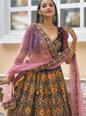 Velvet Trendy Designer Lehenga Choli in Wine
