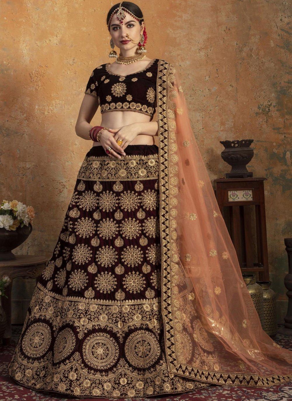 Velvet Wedding Designer Lehenga Choli